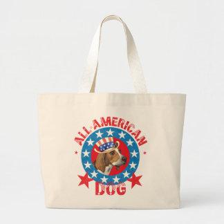 Patriotic Treeing Walker Large Tote Bag