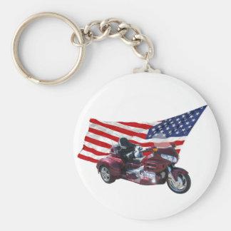 Patriotic Trike Basic Round Button Keychain