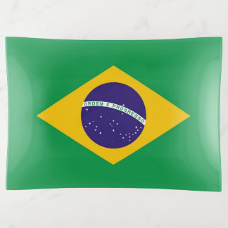Patriotic trinket tray with flag of Brazil