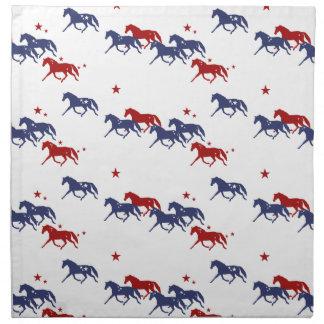 Patriotic Trotting Horses Pattern Cloth Napkin