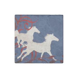 Patriotic Trotting Horses Pattern Stone Magnet
