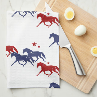 Patriotic Trotting Horses Pattern Kitchen Towels