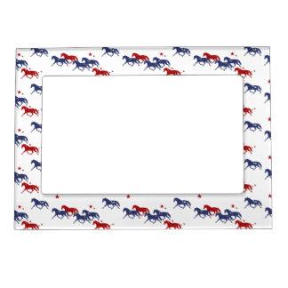 Patriotic Trotting Horses Pattern Magnetic Photo Frame