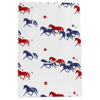 Patriotic Trotting Horses Pattern Medium Gift Bag