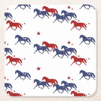 Patriotic Trotting Horses Pattern Square Paper Coaster
