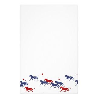 Patriotic Trotting Horses Pattern Stationery