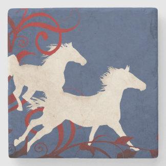 Patriotic Trotting Horses Pattern Stone Coaster