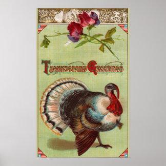 Patriotic Turkey Vintage Thanksgiving Print