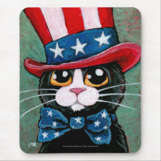 Patriotic Tuxedo Cat | 4th of July Mousepad