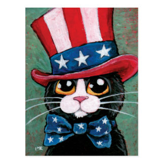 Patriotic Tuxedo Cat | 4th of July Postcard