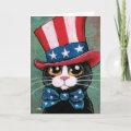 Patriotic Tuxedo Cat   Happy 4th of July Card