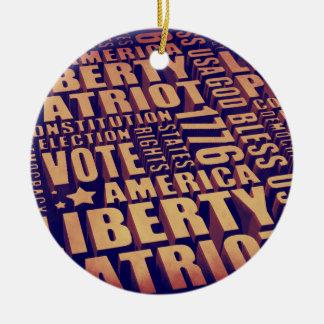 Patriotic Typography Ceramic Ornament
