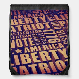 Patriotic Typography Drawstring Bag