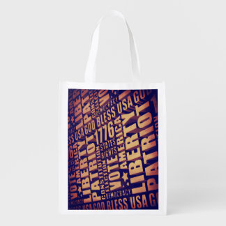 Patriotic Typography Grocery Bags