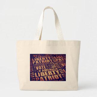 Patriotic Typography Large Tote Bag