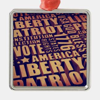 Patriotic Typography Metal Ornament