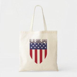 Patriotic U.S.A American Flag Shield Budget Tote Bag