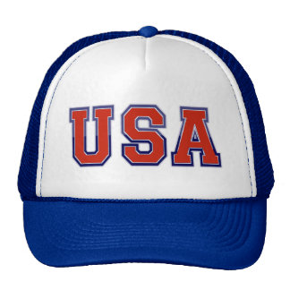 PATRIOTIC U.S.A IN RED WHITE AND BLUE TRUCKER HAT