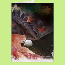 Patriotic U.S. Flag and Bald Eagle Greeting Card