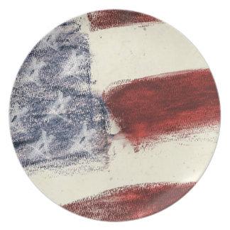 Patriotic U.S. Flag Rustic Sketch Dinner Plate Dinner Plate