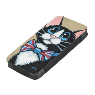 Patriotic UK Tuxedo Cat wearing Bow Tie Painting iPhone 5 Pouch