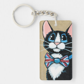 Patriotic UK Tuxedo Cat wearing Bow Tie Painting Double-Sided Rectangular Acrylic Keychain