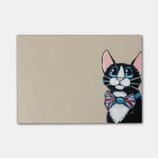 Patriotic UK Tuxedo Cat wearing Bow Tie Painting Post-it® Notes