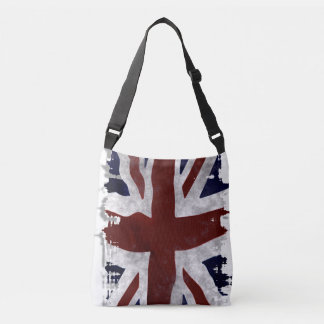 Patriotic UK Union Flag in Grunge style Crossbody Bag