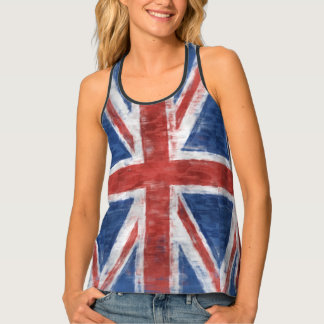 Patriotic UK Union Flag in Grunge style Tank Top