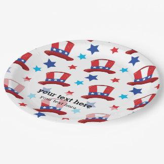 Patriotic uncle sam hats paper plate