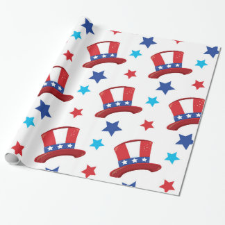 Patriotic uncle sam hats wrapping paper