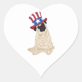 Patriotic Uncle Sam Pug Heart Sticker