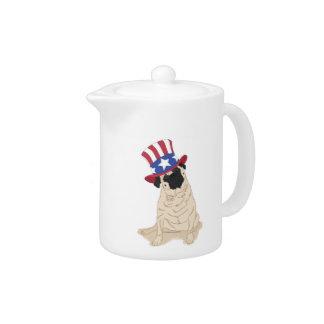 Patriotic Uncle Sam Pug Teapot