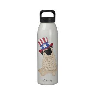 Patriotic Uncle Sam Pug Water Bottle
