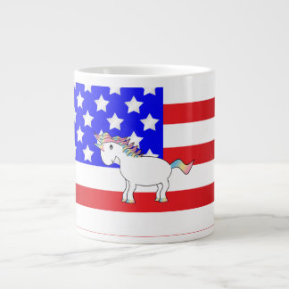 Patriotic unicorn giant coffee mug
