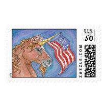 Patriotic Unicorn Waving American Flag Postage