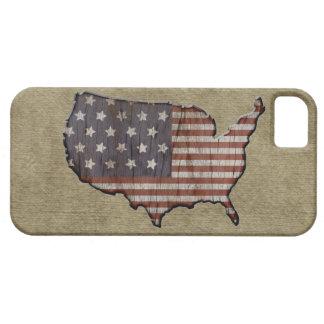 Patriotic United States burlap flag iphone 5 case