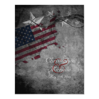 Patriotic United States Flag with Stars Wedding Card
