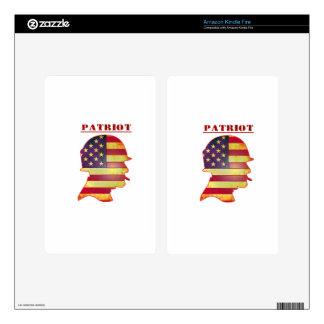 Patriotic US American Flag Military Helmet Kindle Fire Skin