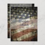 Patriotic US American Flag Vintage Wedding Invitation