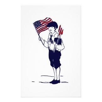 Patriotic US Flag and Fireworks Boy Flyer