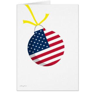 Patriotic US Flag Christmas Ornament Yellow Ribbon Card
