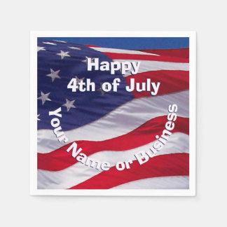 Patriotic US Flag Custom Paper Napkin