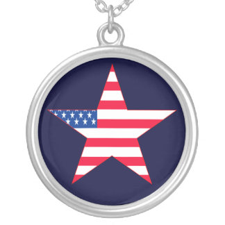 Patriotic US Flag Star Round Pendant Necklace