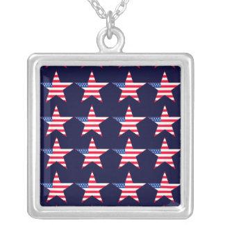 Patriotic US Flag Stars Square Pendant Necklace