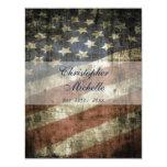 Patriotic US Flag Vintage Red White Blue Wedding 4.25x5.5 Paper Invitation Card