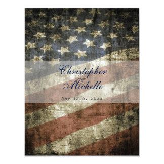 Patriotic US Flag Vintage Red White Blue Wedding Card
