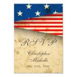 "Patriotic US Flag Vintage Style Wedding RSVP Cards 3.5"" X 5"" Invitation Card"