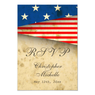 Patriotic US Flag Vintage Style Wedding RSVP Cards Personalized Announcement