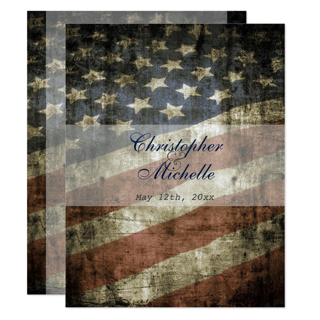 Patriotic US Flag Vintage Wedding Invitation
